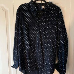 Men's H&M navy and white polka dot Oxford. XL.
